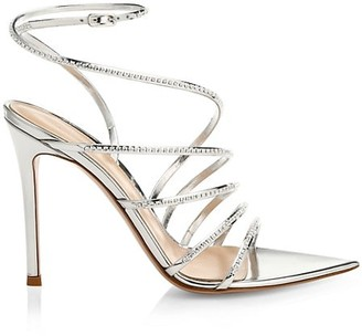 Gianvito Rossi Embellished Metallic Leather Strappy Sandals