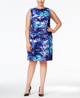 Connected Plus Size Palm-Print Tiered Sheath Dress