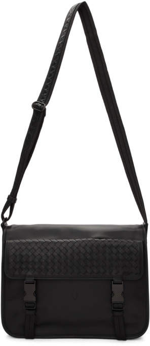 Bottega Veneta Black Large Intrecciato Messenger Bag