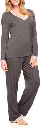 Fleurt Fleur't Two-Piece Lace-Trim Pajama Set with Shelf Bra