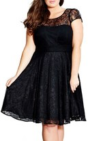 City Chic 'Audrey' Lace Fit & Flare Dress (Plus Size)