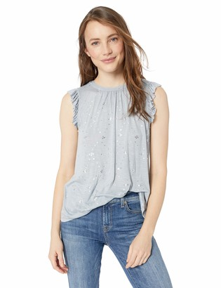 Lucky Brand Women's Sleeveless Metallic Ruffle Sleeve TOP