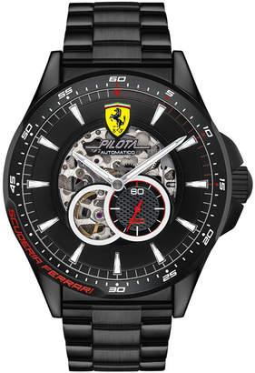 Ferrari Men Mechanical Chronograph Pilota Black Pvd Stainless Steel Bracelet Watch 45mm