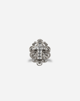 Dolce & Gabbana Barocco Ring In White Gold With Diamonds
