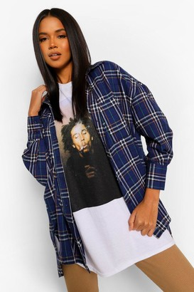 boohoo Oversized Dipped Hem Flannel Shirt