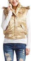 Gold Faux Fur Trim Hooded Vest
