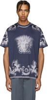 Versace Navy Striped Medusa T-Shirt