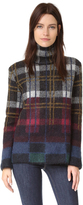 Suno Plaid Mohair Turtleneck Sweater