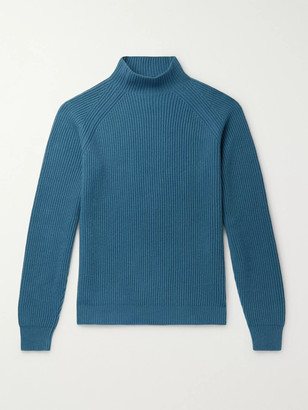 Loro Piana Ribbed Baby Cashmere Mock-Neck Sweater