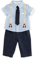 Miniclasix Short-Sleeve Oxford Shirt w/ Chambray Pants, Blue, Size 12-24 Months