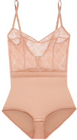 Eres Charivari Stretch-lace And Silk-blend Satin Bodysuit - Antique rose