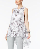 Alfani Floral-Print Flyaway High-Low Blouse, Only at Macy's
