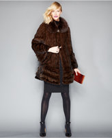 The Fur Vault Fox-Fur-Trimmed Mink Fur Swing Coat