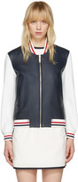 Thom Browne Navy Floral Anchor Varsity Jacket