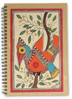 Handpainted Bird Journal 40 Pages of Handmade Paper, 'Mango Bird'