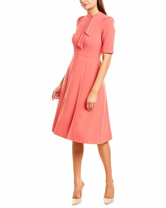 Donna Morgan Women's Short Sleeve Tie-Neck Stretch Knit Crepe Fit and Flare Dress
