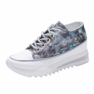 TEELONG Women's Fashion Casual Wedge Comfort Platform Thick Bottom Shoes Ladies Print Shiny Sneakers Teen Girls Low Top Lace Up Canvas Shoes (Silver 4 UK)