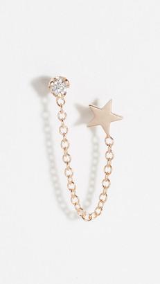 Zoë Chicco 14k Double Stud Earrings with Star & Diamond Chain
