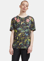 Gucci Men's Floral Embroidered Botanic T-shirt In Black And Green
