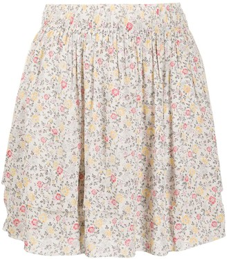 Ganni Floral-Print Pull-On Skirt