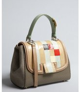 Fendi black and beige check leather and snakeskin 'Silvana' flap convertible satchel