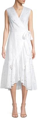Rebecca Taylor Sleeveless Lace Eyelet Wrap Dress