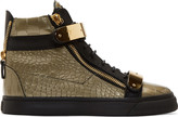 Giuseppe Zanotti Old Gold Croc-embossed Leather London High-tops