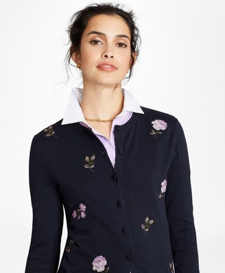 Brooks Brothers Floral-Embroidered Supima Cotton Cardigan