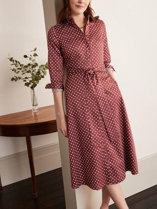 Boden Isodora Polka Dot Midi Shirt Dress, Maroon