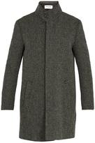 Saint Laurent Funnel-neck wool-blend herringbone coat