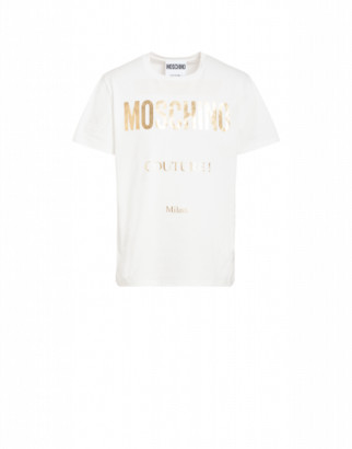 Moschino Jersey T-shirt With Laminated Logo Man White Size 44 It - (34 Us)
