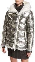 Moncler Lirio Quilted Metallic Puffer Coat W/ Shearling