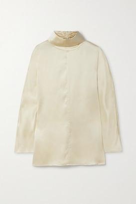 Co Silk-satin Turtleneck Blouse - Cream