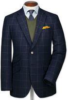 Charles Tyrwhitt Classic Fit Blue Checkered Luxury Border Tweed Wool Jacket Size 44