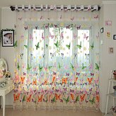Robolife 1 Piece Tull Voile Door Window Curtains Panels Drapes Butterfly Valance