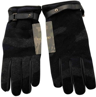 Valentino Blue Leather Gloves