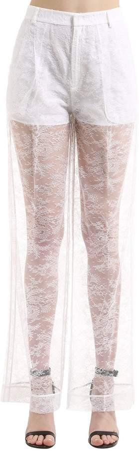 Givenchy Sheer Lace Wide Leg Pants