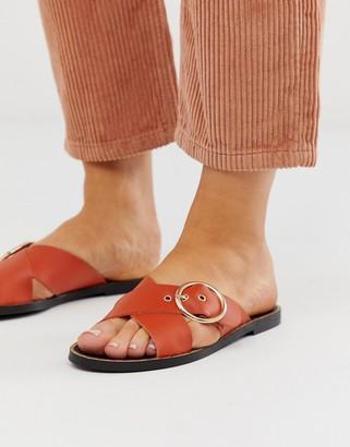 Depp leather buckle open toe mules in orange