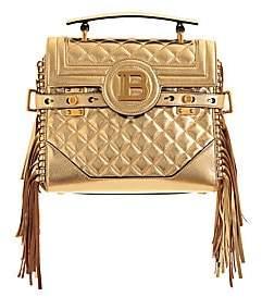 Balmain Women's B-Buzz Fringe Quilted Metallic Leather Top Handle Bag