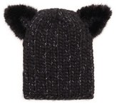 Eugenia Kim Women's 'Felix' Wool Blend Knit Beanie With Genuine Mink Fur Trim - Black