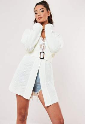 Missguided Cream Horn Belt Chunky Knit Cardigan