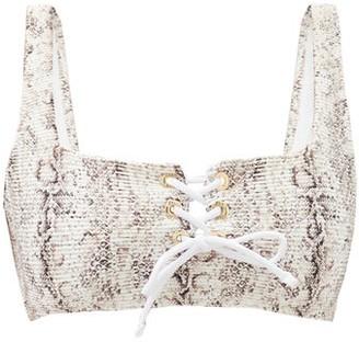 Heidi Klein Zambia Snake-print Lace-up Bikini Top - Beige Multi