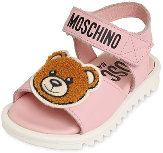 Moschino Teddy Bear Logoed Strap Leather Sandals
