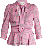 Balenciaga Ruched-waist striped-jersey top