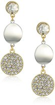 T Tahari Crystal Pave Disc Silver/ Gold Drop Earrings