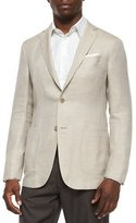 Ermenegildo Zegna Two-Button Blend-Linen Blazer, Tan