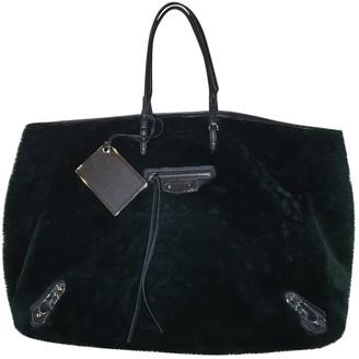 Balenciaga Papier Green Shearling Handbags