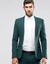 Asos Super Skinny Fit Suit Jacket In Green