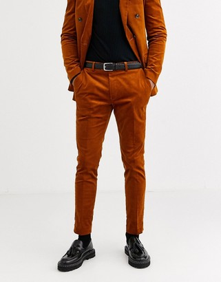Topman skinny suit pants in brown cord