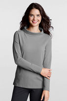 Lands' End Women's Regular Long Sleeve Starfish Terry Portrait Collar Top